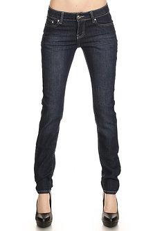 Premium Wax Rhinestone Pocket Dark Denim Jeans
