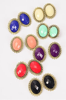OVAL ANTIQUE POLY STONE EARRINGS