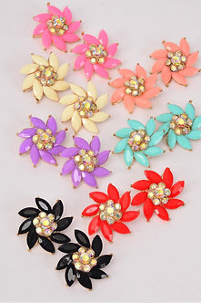 FLOWER POLY RHINESTONE EARRINGS