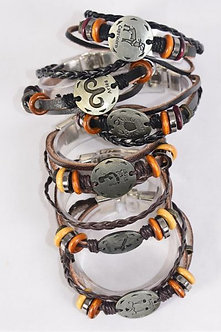 Multi Color and Silver  Zodiac Sign Brown Leather Bracelet