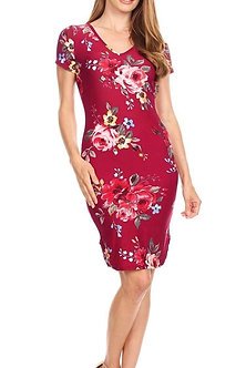 Floral Plum Olive V Neck Curve Hem Midi Bodycon Fit Dress