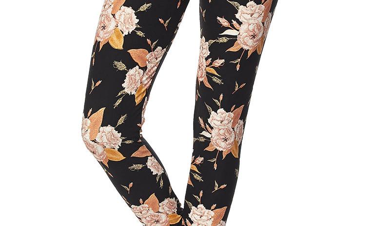 leggings - dark with flowers