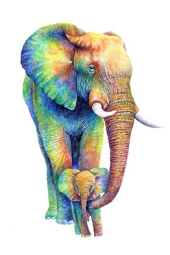 Rainbow Elephants - Original