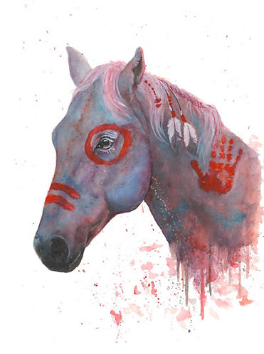 Red Native Horse - Original