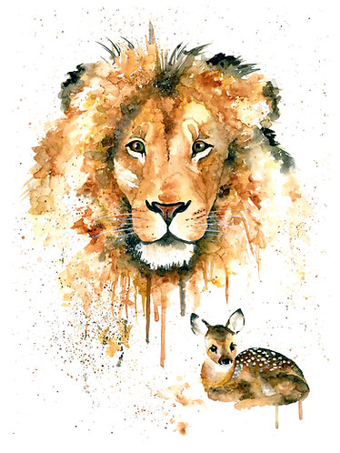 Lion and Fawn - Original