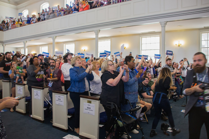 Bernie Sanders supporters cheer on.