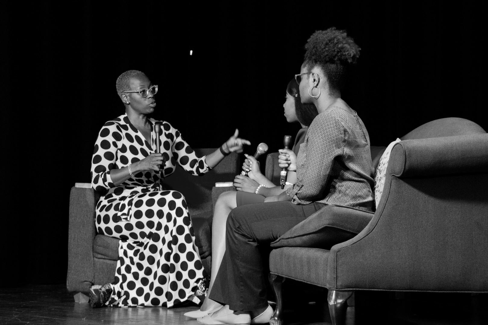 Bennett Belles Zamora Bonner and Katiya Laster interviews Nina Turner before the Bernie Sanders event.