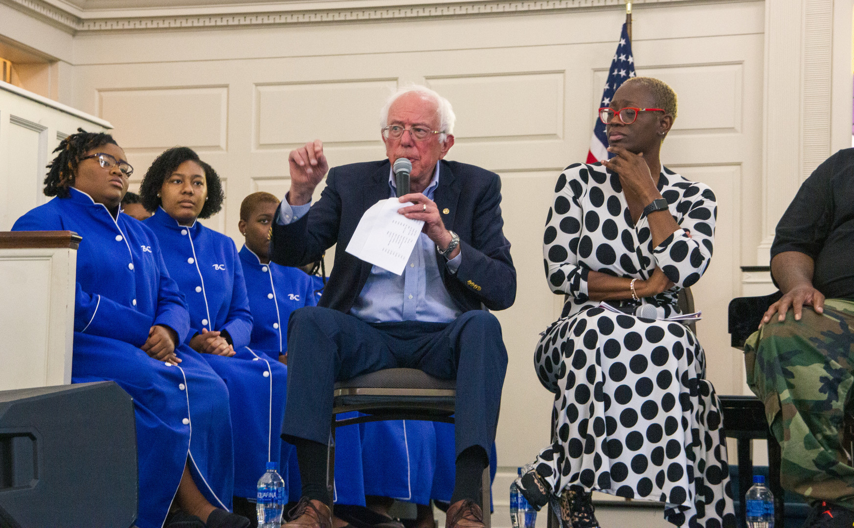 Bernie Sanders talks during panel discussion (Nina Turner was apart of the panel discussion).