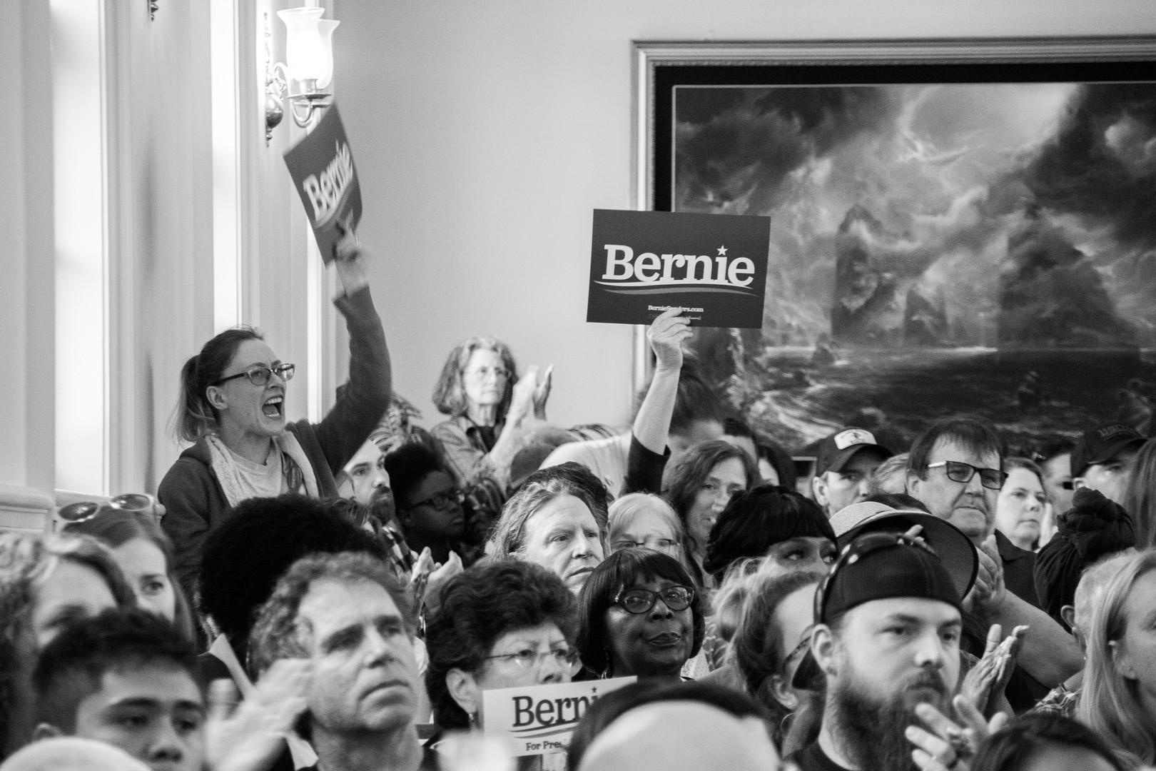 Bernie Sanders supporter cheers on.