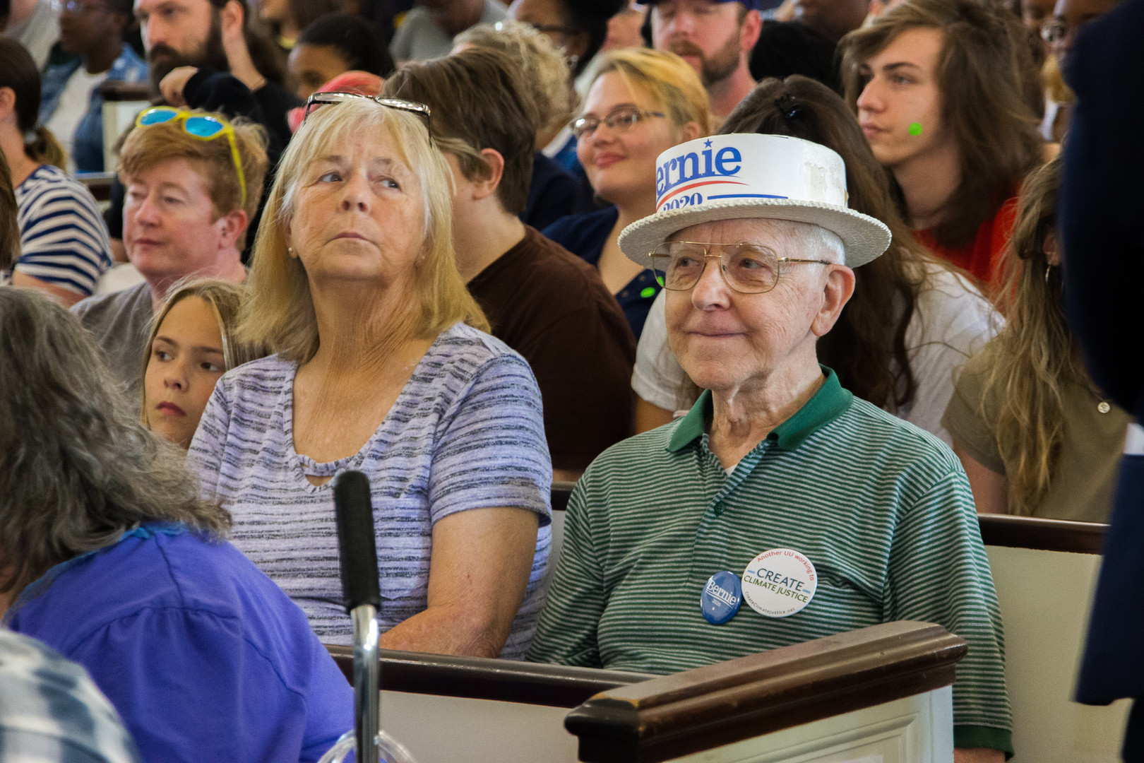 Bernie Sanders supporter waiting for his arrival.