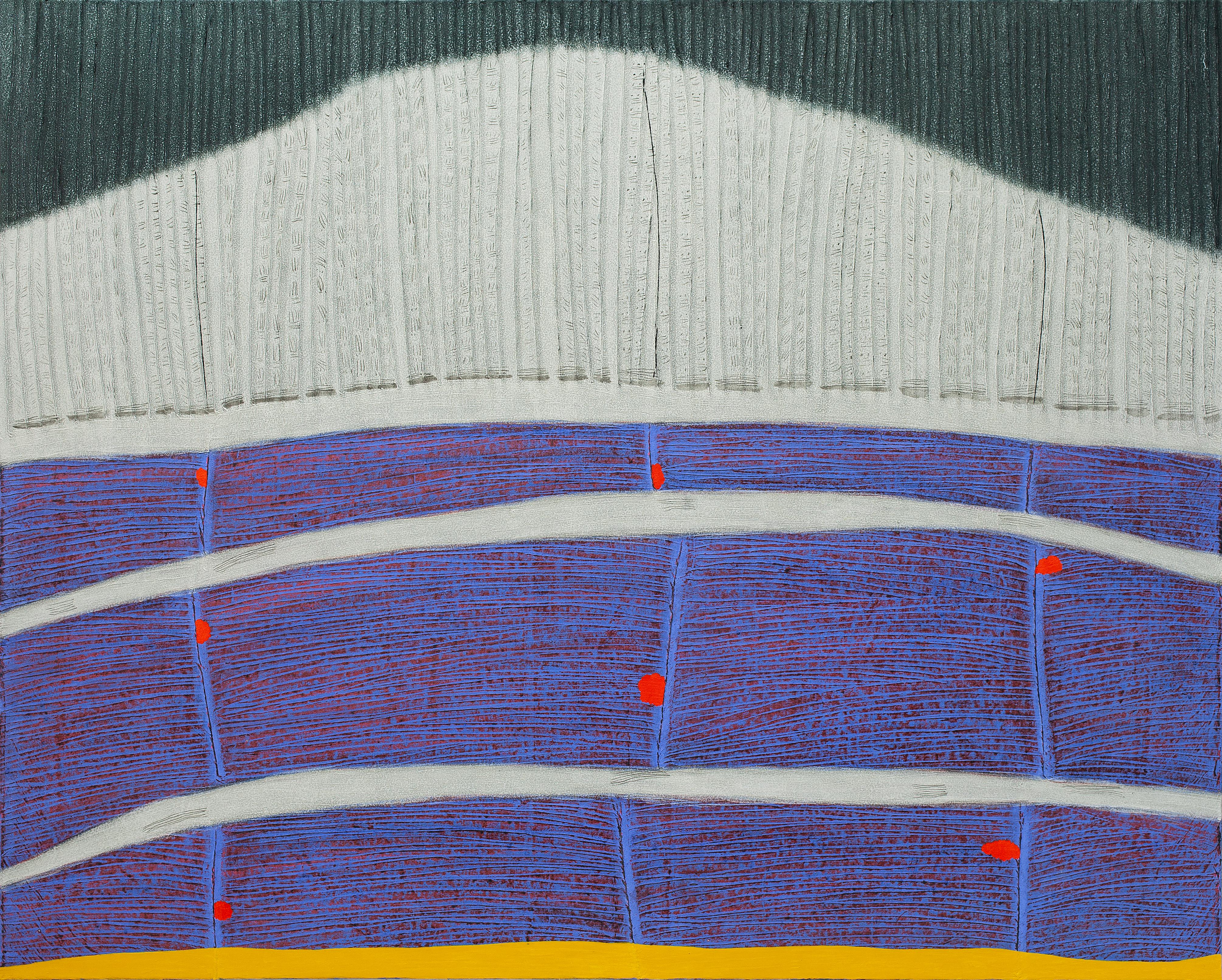 선묘 풍경 A Scenery of Lines 120x150cm 캔버스에 한지  흙과 채색 Soil and powderpaints Koreanpaper on canvas 2020