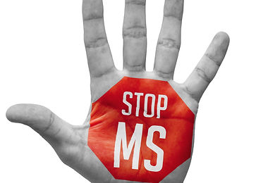 Stop MS Sign Painted - Open Hand Raised,