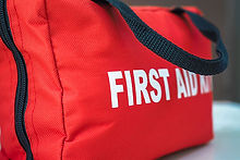 First aid bag of supplies