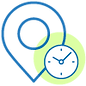 Hours and direction icon icon to serve as a quick link