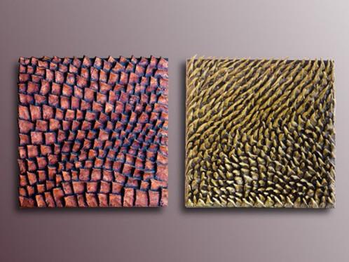 Set of 2 Wood Wall Sculptures Textured 3D Wall Art Diptych