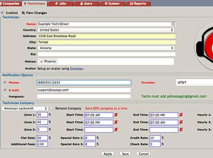 PowerDispatch Field Service Software Technicians Settings