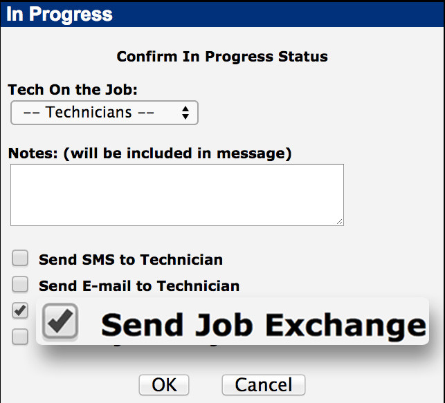 Power Dispatch Job Exchange send to technician