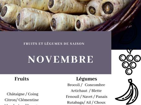 Fruits et légumes de saison : NOVEMBRE