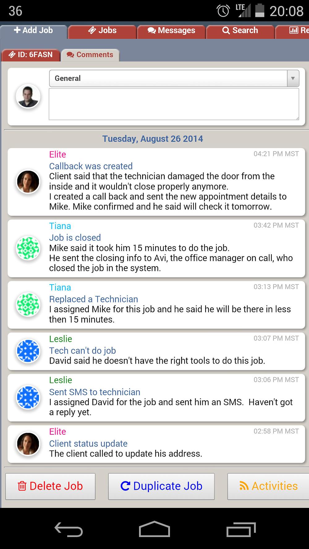 PowerDispatch Edit Job Comments Field Service Management