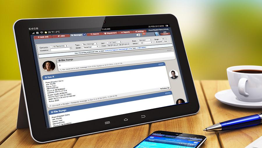 PowerDispatch Pro 2-Way Messaging in Tablet