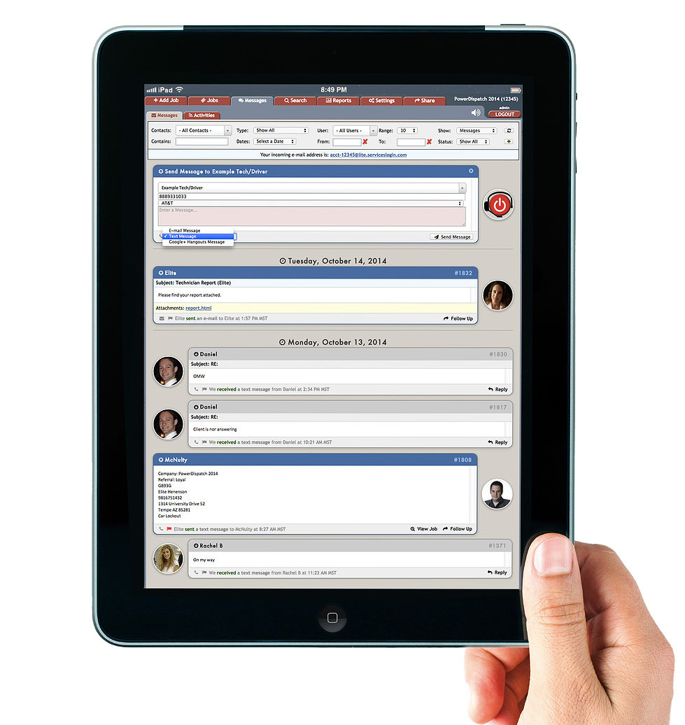 PowerDispatch Field Service Software 2 way Messaging on Tablet