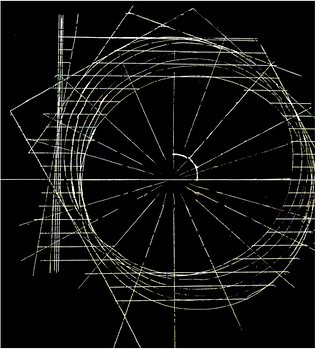 A sketch of white circles and lines and angles on a black background