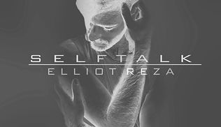 The album cover for 'selftalk' featuring Elliot, a queer white person, in negative, holding themselves with their arms crossed and gaze off camera