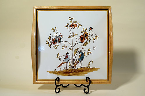 Square Wood Tray with hand-painted tile 12¾""