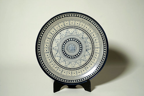 "Cake Plate Blue Marli & Cream  10½"" Design B"