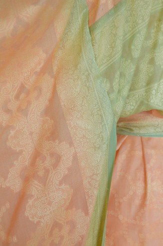 peach green gold embroidery