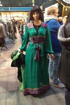 Retro chic sari silk robe
