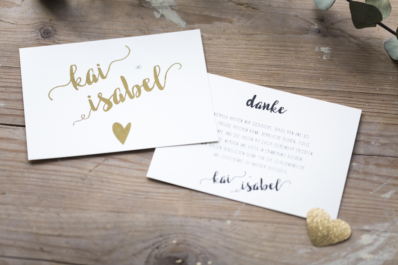 Hochzeitseinladung Herz aus Gold
