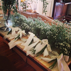 Instagram - Baby's breath tied with satin ribbon for Taryn and Mark's church pew