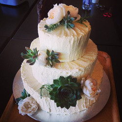 Instagram - Saturday's wedding cake with David Austins and succulents by us! #lo