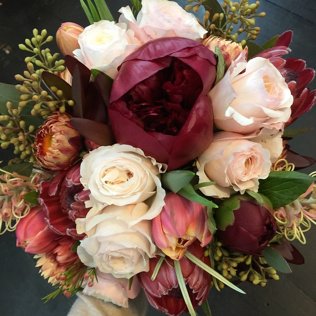 Instagram - Autumn bouquet with ruby red peonies and David Austin roses for Harr