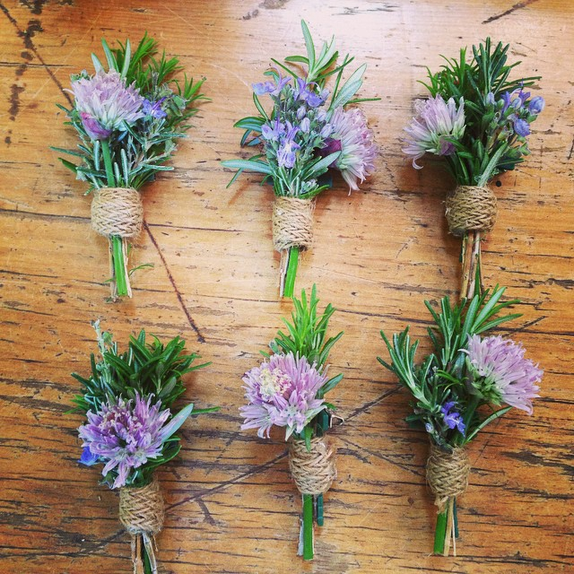 Instagram - Buttonholes for Angela #herbs #rustic @racinelacolline #bespokeflori