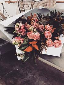 Soft Pastel tones with foliage - large bouquet