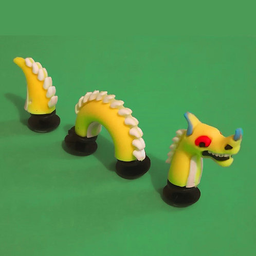3pcs / 1 Yellow Dragon - 3D
