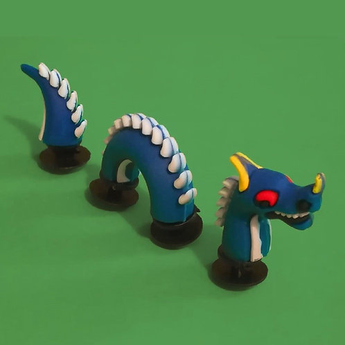3pcs / 1 Blue Dragon - 3D