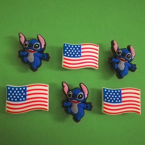 6pcs / Disney Stitch & USA Flag - HQ