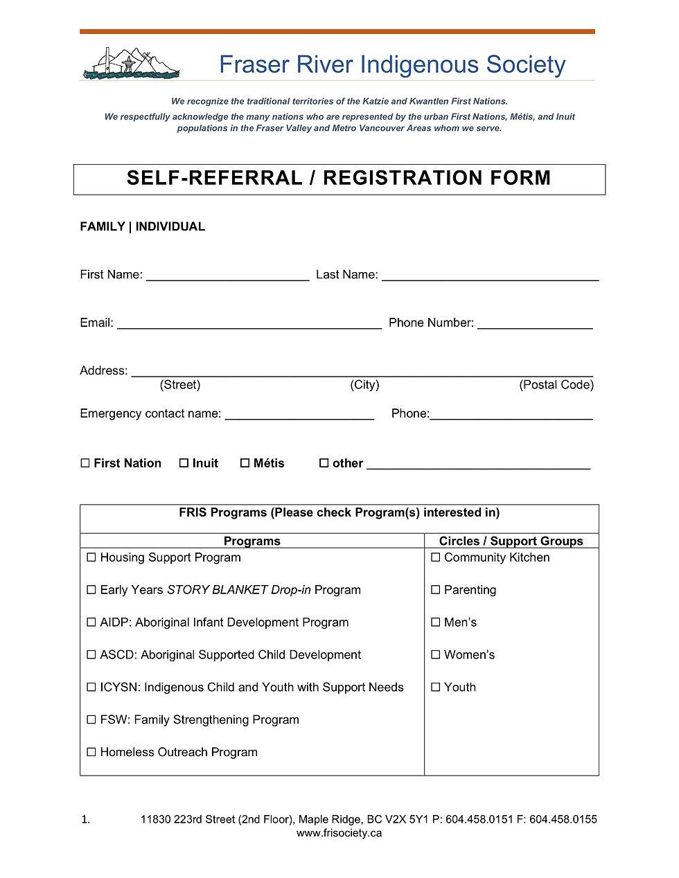 FRIS Self Refferal - Registration Form A