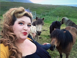 After a show, pet horses in Skagafjörður!