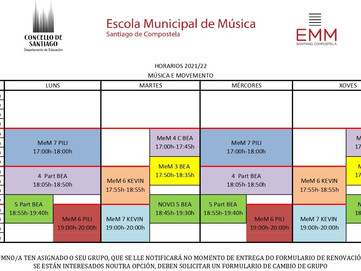 Horarios de música e movemento para o curso 2021/22