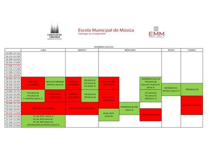Horarios de materias teóricas e agrupacións para o curso 2021/22