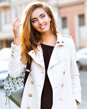 Outdoor fashion city portrait of beautif