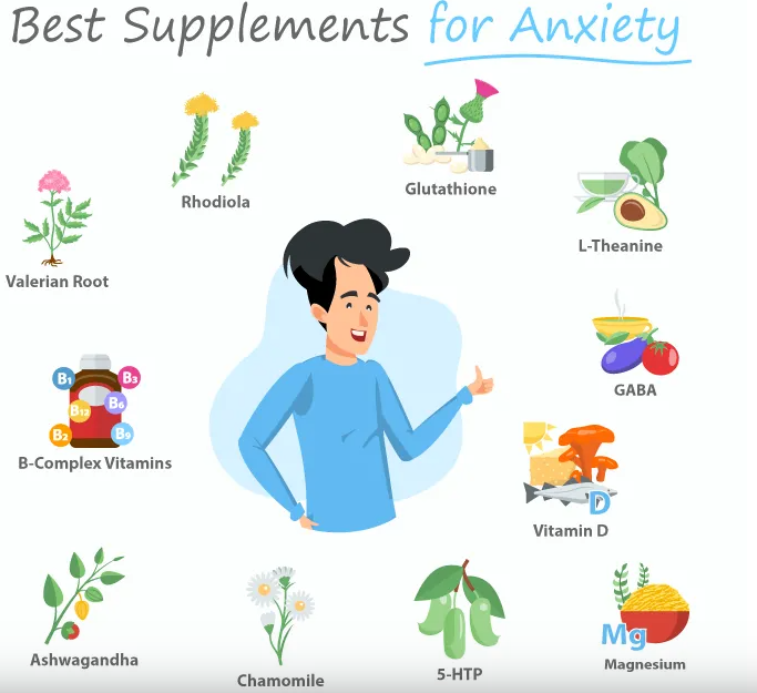 Find the best and top 11 supplements for anxiety relief naturally.  Valerian root, B-Complex, ashwagandha, chamomile, 5-HTP, magnesium, vitamin D, GABA, L-theanine, glutathione, Rhodiola