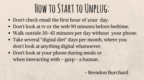 Brendon goes through 5 things to do in order to unplug