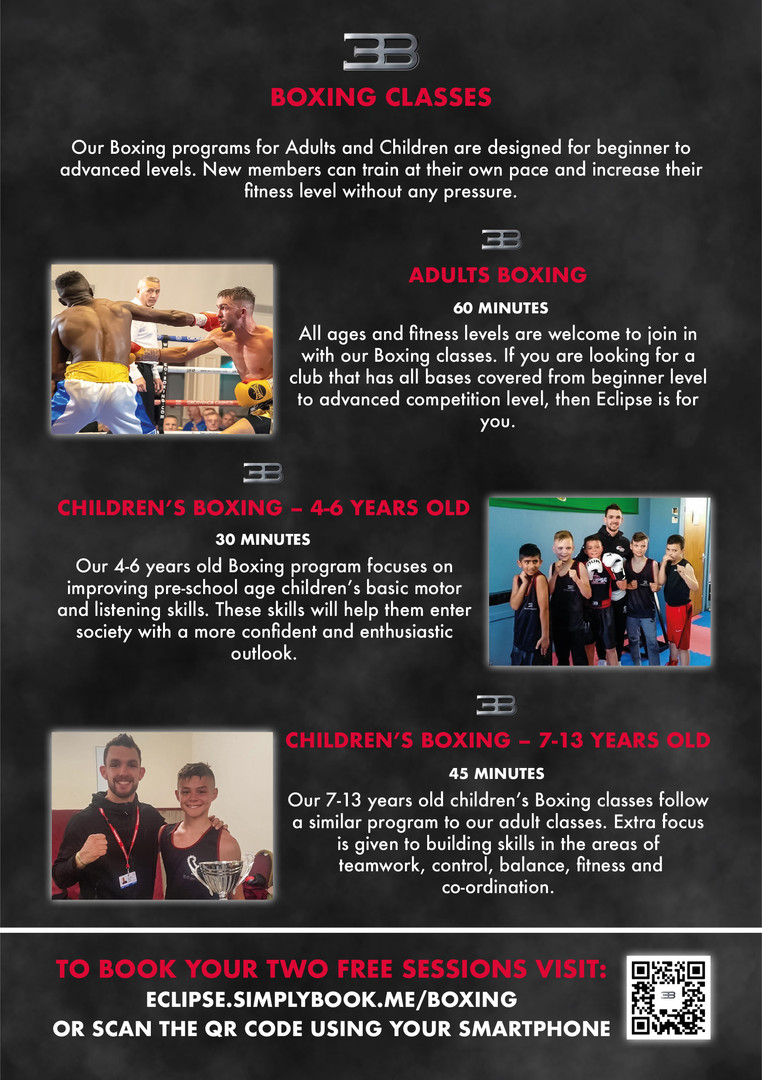 Eclipse Boxing Promotional Flyer Reverse