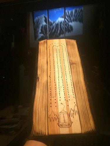 Live edge Fir Blend Cribbage board