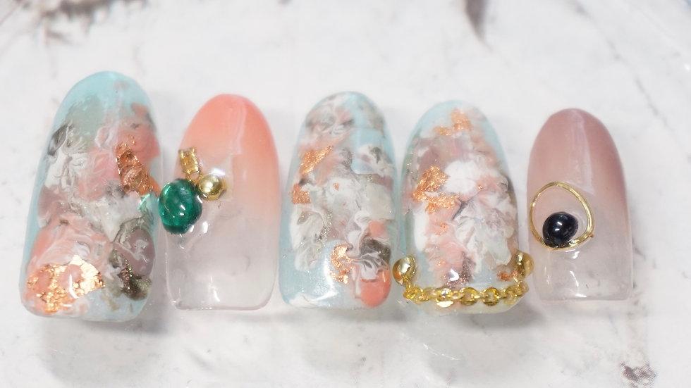 Press on Nail Marble Nail Art